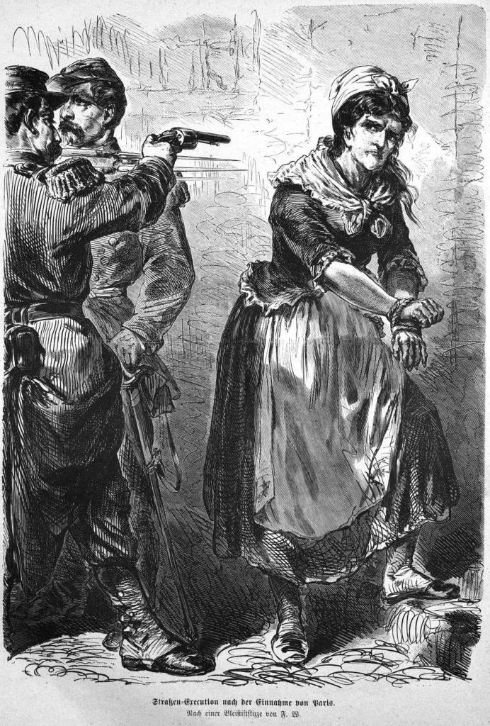 Straßen-Execution nach der Einnahme von Paris. Nach einer Bleistiftskizze von F. W. (aus: Die Gartenlaube, 1871)